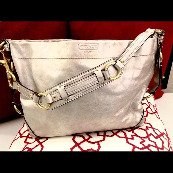 Coach Bags   Metallic Leather Slim Carly Handbag   Poshmark 743e938f0f